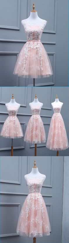 Peachy pink tulle scoop neck short prom dress, short halter bridesmaid dress #prom #dress #promdress #homecomingdresses #promdresses