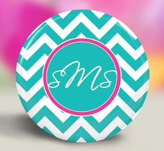 Monogrammed Mirror  Choose Your Colors Turquoise with Hot Pink Chevrons by SpotlightMirrors, $4.50