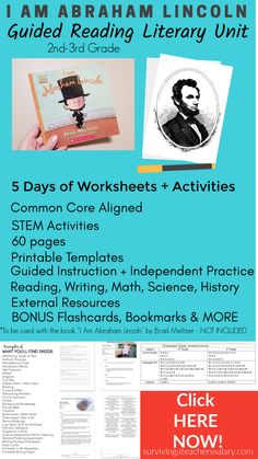 5 Day I Am Abraham Lincoln Guided Reading Literary Unit Kindergarten Lessons, Kindergarten Writing, Comprehension Strategies, Reading Comprehension, Writing Anchor Charts, Writers Notebook, Common Core Reading, Literature Circles, Context Clues