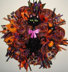 Black Cat Halloween Mesh Wreath Halloween by StarlightWreaths