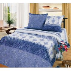 Купить постельное белье в сине-голубых тонах с абстракцией Лувр