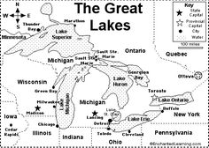 Crazy Eddie's Motie News: Great Lakes cities and their roles in the regional. Great Lakes Map, Great Lakes Region, Social Studies Worksheets, Teaching Social Studies, Paddle To The Sea, Map Quiz, Enchanted Learning, Canada Ontario, Area Map