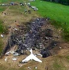 Crash scene near Shanksville, PA, of United Airlines Flight 93 which was hijacked as part of the September 11 attacks in 2001.