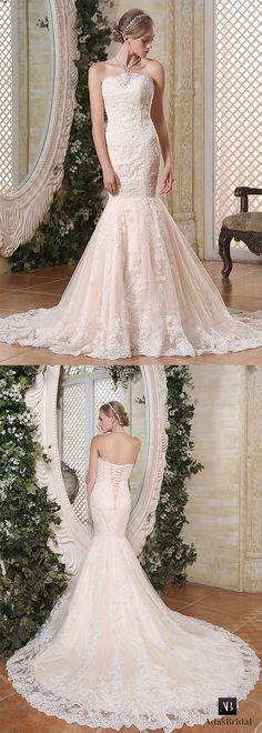 Romantic tulle strapless neckline lace appliques mermaid wedding dresses. Nice fishtail! (WWD20573) - Adasbridal.com