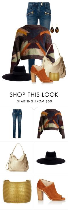 """""""Untitled #2419"""" by anfernee-131 ❤ liked on Polyvore featuring Balmain, Isabel Marant, Elliott Lucca, Maison Michel and rag & bone"""