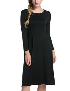 Meaneor Womens Long Sleeve Casual Loose T Shirt Dress Black XXL * You can get more details by clicking on the image.