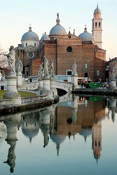 Reflactions in the late afternoon taken from Prato della Valle. Santa Giustina - Padua/Padova, Veneto, Italy
