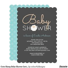 Cute customizable blue polk a dots and sheep baby shower invitation. Zazzle Invitations, Baby Shower Invitations, Cute Sheep, Baby Shower Themes, Rsvp, Colourful Designs, Messages, Cards, Dots