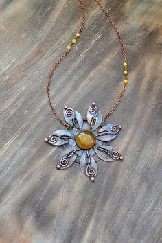 Copper handmade yellow sun-flower onyx by TanyaKolyada on Etsy