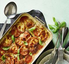 Lasagne med søde kartofler, aubergine, tomat og mozzarella