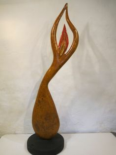 Ash burr Indoor Abstract #sculpture by #sculptor Ket Brown titled: 'L`Almee' #art