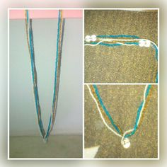 Golden, blue and white seed bead necklace. Price - Rs 200/-