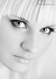 Leona  #blackandwithe #women #hi-key #eyes #beuty #maceup #portrait