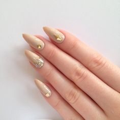 Nude Stud & Glitter Stiletto nails, Nail designs, Nail art, Nails,... ($25) ❤ liked on Polyvore featuring beauty products, nail care and nail treatments