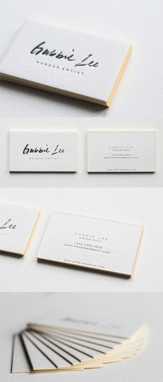 #brand_business_cards | Neon Yellow Edge Painting And Beautiful Calligraphy On A Letterpress Business Card For A Makeup Artist
