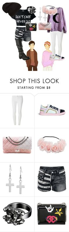 """""""Pastel! Dan and Punk! Phil"""" by fandomfabulous ❤ liked on Polyvore featuring Dorothy Perkins, Sophia Webster, Chanel, West Coast Jewelry and Dsquared2"""