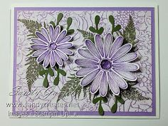 This size cards features the Daisy Lane Stamp Set and coordinating Daisy Punches from Stampin' Up! on patterned Designer Series Paper. Handmade Birthday Cards, Greeting Cards Handmade, Daisy Delight Stampin' Up, A2 Size, Creative Memories, Stamping Up Cards, Cards Diy, Big Project, Folded Cards