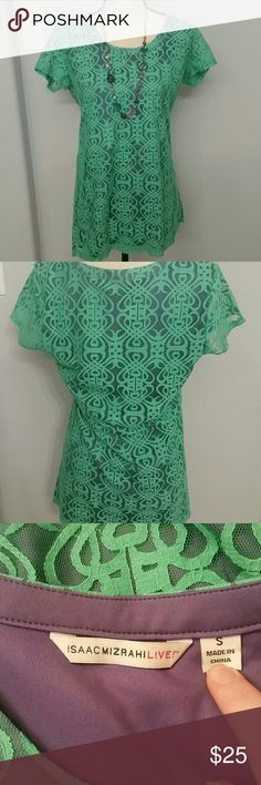Isaac Mizrahilive lace tunic EUC Very cute lined lace tunic is teal in color. Has a purple underlay. Isaac Mizrahi Tops Tunics