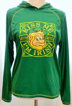 "Women's Hoodie Pullover Jogging ""Kiss Me I'm Irish"" Long Sleeve Green Sz S #LeslieJordan #Hoodie"