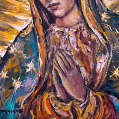 Divine Mother, Mother Mary, Christian Paintings, Mama Mary, Cute Little Drawings, Art Walk, Blessed Virgin Mary, Catholic Art, Sacred Art