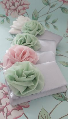 Pink and mint bridesmaid clutches  www.emmagordonlondon.etsy.com