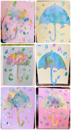 umbrellas and raindrops cut out from paper towel used to blot liquid watercolour paint