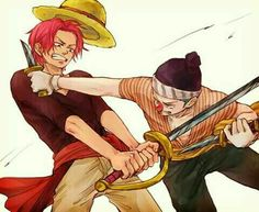 Shanks, Buggy, fighting, young, childhood; One Piece