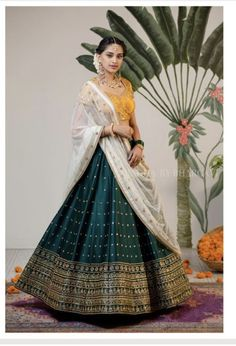 Latest Collection of Lehenga Choli Designs in the gallery. Lehenga Designs from India's Top Online Shopping Sites. Half Saree Designs, Choli Designs, Lehenga Designs Simple, Simple Designs, Half Saree Lehenga, Indian Lehenga, Lehenga Style, Indian Wedding Outfits, Indian Outfits