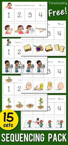 Sequencing Activity Pack Free Printable Sequencing Worksheets For Preschool And Kindergarten Kids Includes 15 Activities Featuring Seasonal Themes Hygiene Such As Brushing Teeth Washing Hands And Fire Safety Great For Language And Literacy Development Story Sequencing Worksheets, Sequencing Activities, Story Sequencing Pictures, Sequencing Events, Sequencing Cards, Free Preschool, Preschool Learning, Preschool Language Activities, Children Activities