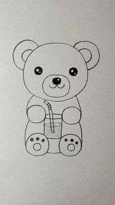 Easy Animal Drawings, Easy Doodles Drawings, Easy Drawings For Kids, Cute Little Drawings, Cute Cartoon Drawings, Art Drawings Sketches Simple, Cute Doodles, Easy Doodle Art, Drawing For Kids