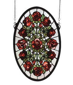 11 Inch W X 17 Inch H Oval Rose Garden Stained Glass Window - 11 Inch W X 17 Inch H Oval Rose Garden Stained Glass WindowBurgundy roses with Willow Green leaves radiatearound a single rose against a Crystalline sky in theresplendent oval shaped window. Handcrafted with stained art glass utilizing the copper foil constructionprocess, this beautiful window also comes with a solidbrass hanging chain and brackets. Theme: TIFFANY FLORAL NOUVEAU Product Family: Oval Rose Garden Product Type…