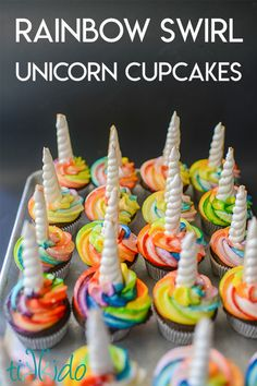 Rainbow Unicorn Cupcakes with Edible Cookie Unicorn Horn Cupcake Toppers Cupcake Rainbow, Rainbow Icing, Rainbow Unicorn, Monster Cupcakes, Edible Cookies, Cupcake Cookies, Cupcake Pics, Cupcake Ideas, Halloween Cupcakes