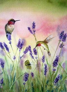 Watercolor Hummingbird, Hummingbird Art, Watercolor Bird, Watercolor Paintings, Watercolor Portraits, Watercolor Landscape, Abstract Paintings, Original Paintings, Bird Painting Acrylic