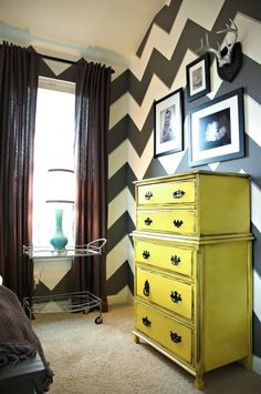 Chevron wall! And painted furniture!