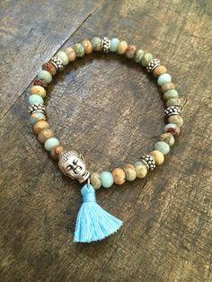 Boho Schmuck Buddha Quaste Edelstein Armband von TwoSilverSisters