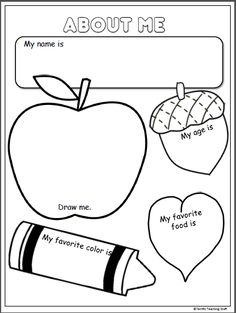 All About Me Poster Write your name. Draw a picture of yourself. Write your age, favorite color, and favorite food. Color. Simple and fun for K and 1st.