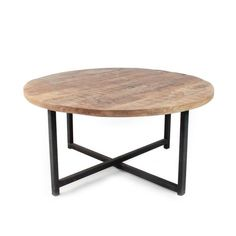 DOK 2 - Het Woonwarenhuis LABEL51 - Salontafel Rond Industrieel Dia 80cm Garden Coffee Table, Coffee Tables, Coffee Table With Storage, Recycled Furniture, Scandinavian Interior, Wood And Metal, Industrial Style, Home Accessories, Living Room Decor
