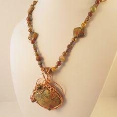 Picasso Jasper wire wrapped pendant necklace, copper, OOAK | JosiannesJewelry - Jewelry on ArtFire