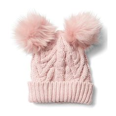 Gap Cable Knit Pom Pom Beanie ($25) ❤ liked on Polyvore featuring accessories, hats, pink standard, regular, cable knit hat, pink pom beanie, pink hat, pompom hat and foldable hat