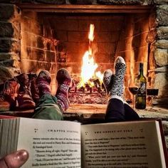 Reading #harrypotter in front if the fire. <3