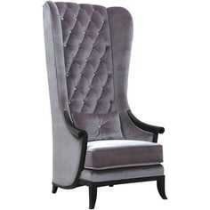 TALL PORTER'S CHAIR SILVER VELVET WITH JEWELS