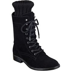Marc Fisher Ltd Galina Suede Combat Boots ($160) ❤ liked on Polyvore featuring shoes, boots, ankle booties, black, lace up booties, black ankle booties, lace up combat boots, military boots and black suede ankle booties