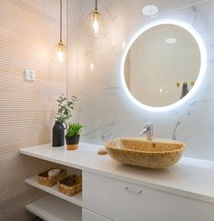 | Kouvolan Asuntomessut 2019 Decorative Panels, Round Mirrors, Sustainable Living, Double Vanity, Sweet Home, Interior Design, Cool Stuff, Bathroom, Wood