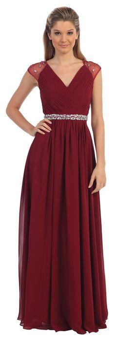 Burgundy V-Neck Cap Sleeve Prom Gown #discountdressshop #burgundy #vneckdress #capsleeves #formalwear #promgown