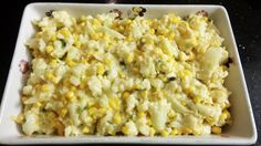 Cauliflower, corn cooked with cream, shallots and finished with sicilian peccorino! Snack Recipes, Snacks, Sicilian, Cauliflower, Side Dishes, Cream, Cooking, Food, Snack Mix Recipes