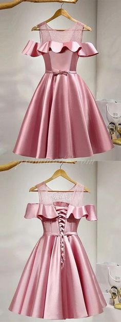Off-shoulder See-through Ruffle Satin Homecoming dresses With Bow, Lace up Dress SEME227#homecoming #homecomingdresses #2020homecoming #homecomingdress