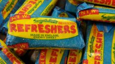 Swizzels matlow refreshers fruit flavour chewy sweet with a sherbet centre from Blue Sweets, Citric Acid, Candy, Fruit, Centre, Yellow, Sweets, Candy Bars, Chocolates