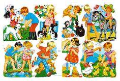 De Oude Speelkamer: Poëzieplaatjes Arts And Crafts, Paper Crafts, Vintage Paper Dolls, Good Old, Childhood Memories, Retro Vintage, Vintage Cards, Clip Art, Cartoon