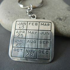 So my husband remembers the dates he's suppose to!      Personlaized Year Calendar Keychain | wirenwhimsy - Accessories on ArtFire