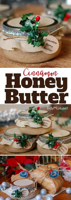 Cinnamon Honey Butter Delicious handmade food gift that requires no baking! Cinnamon Honey Butter makes a beautiful gift in a jar when paired with homemade bread or pound cake. Get the easy recipe + gift jar tutorial at Diy Food Gifts, Jar Gifts, Homemade Gifts, Gift Jars, Cinnamon Honey Butter, Cinnamon Recipe, Biscuit Mix, Butter Recipe, Flavored Butter